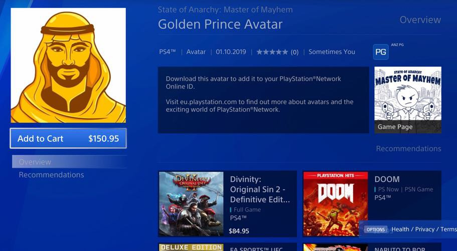 golden prince avatar playstation store