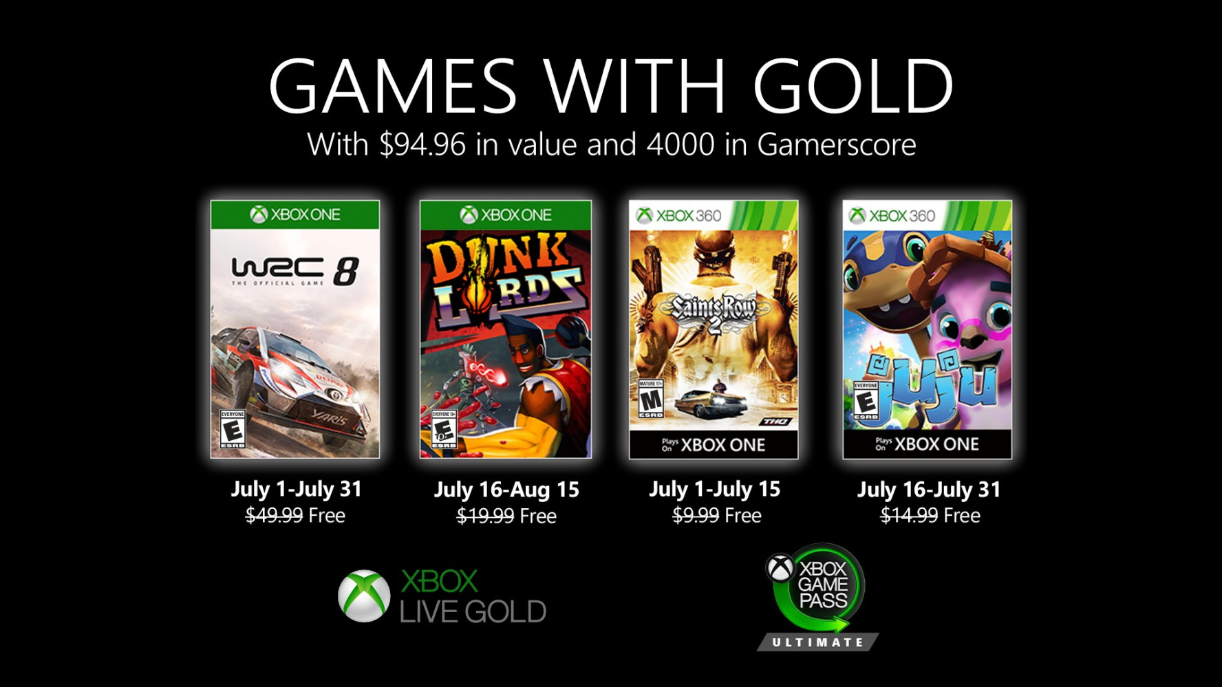 xbox live games with gold ιουλιου 2020
